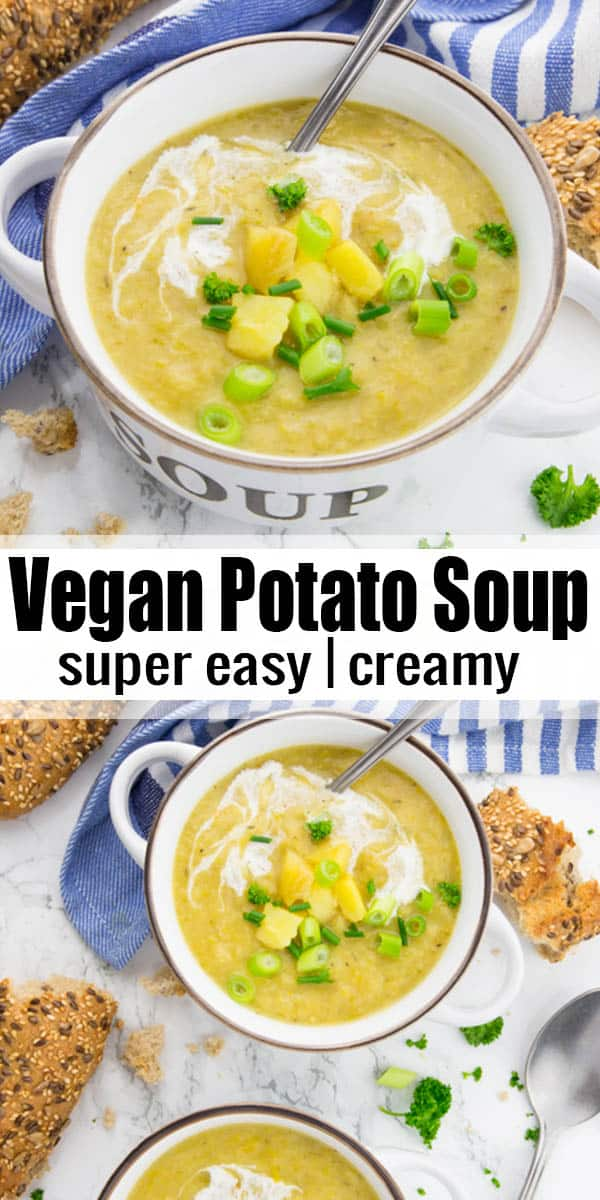 This vegan potato soup is the ultimate comfort food for cold days! It's super creamy, rich, and very easy to make! And it's ready in just 30 minutes, so it makes the perfect vegan dinner! #vegan #soup #veganrecipes
