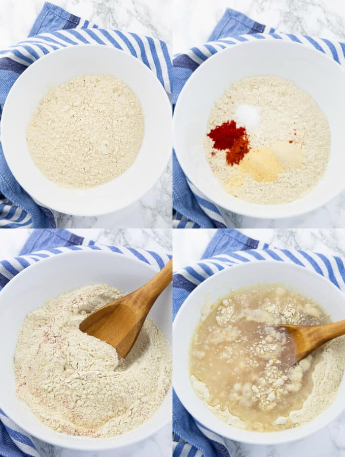 four photos that show the step by step preparation of seitan (vital wheat gluten in a white bowl with spices and water)
