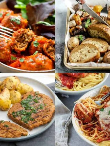 a collage of four seitan recipes