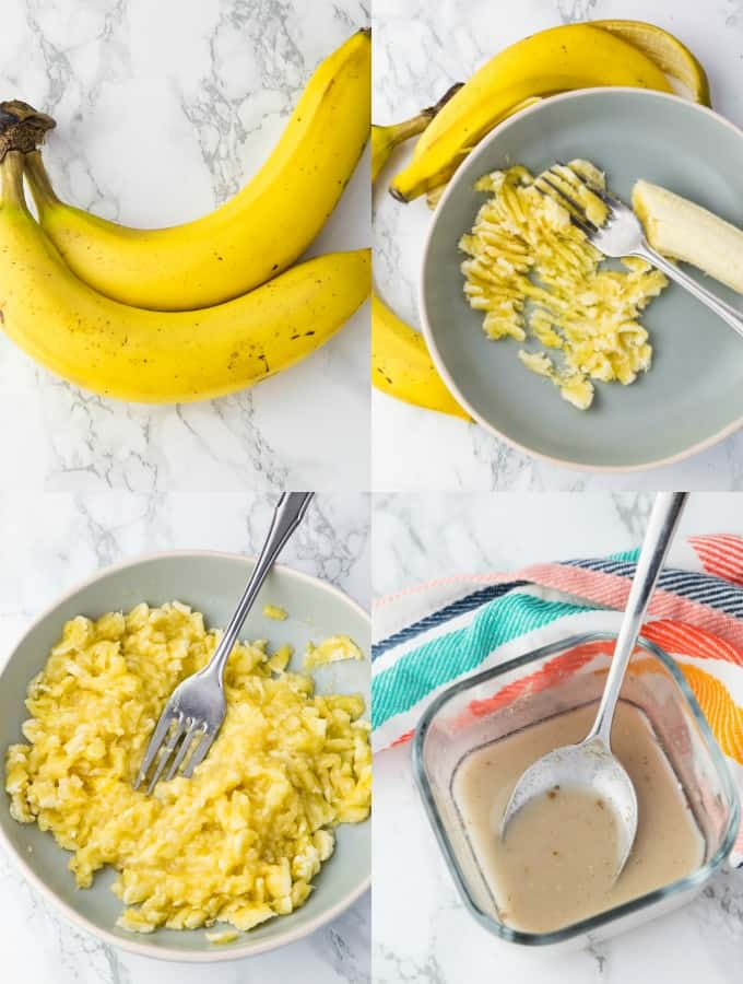 four step-by-step photos of the preparation of vegan banana muffins