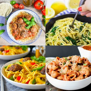 a collage of four vegan pasta recipes