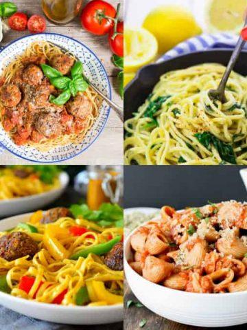 a collage of four vegan pasta recipes