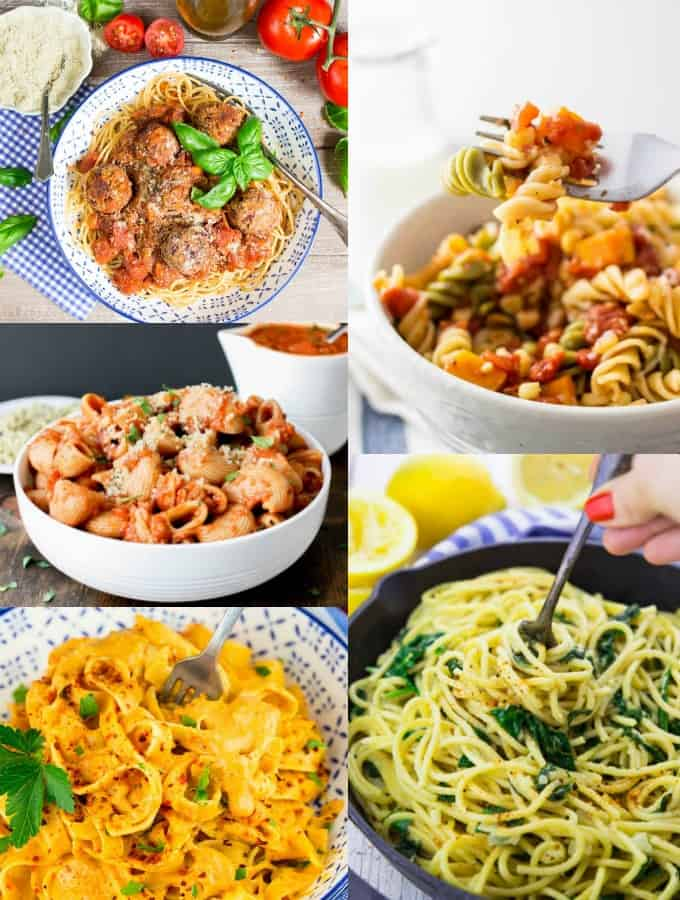 a collage of five vegan pasta recipes