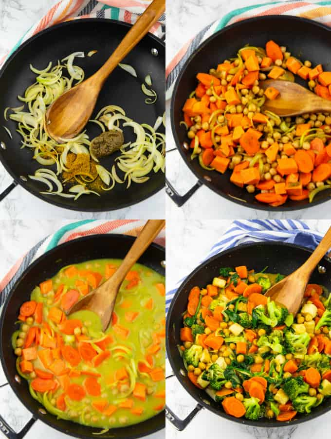 4 step-by-step photos of the preparation of vegetable curry