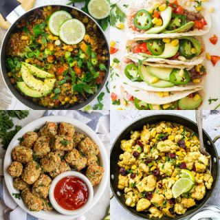 a collage of four healthy vegan recipes