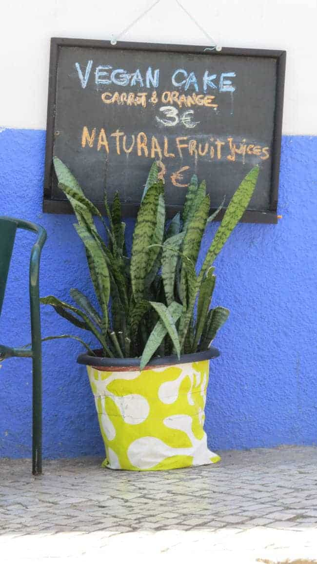"a sign saying ""vegan cake & natural fruit juices""in front of a blue and white wall with a plant in front"