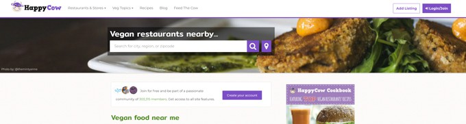 a screenshot of happy cow (a website that allows you to find vegan food nearby)