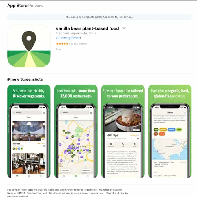 a screenshot of the app vanilla bean in the apple store (a website and app that allows you to find vegan food nearby)