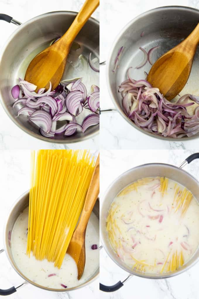 a collage of four photos that show how to make one pot pasta