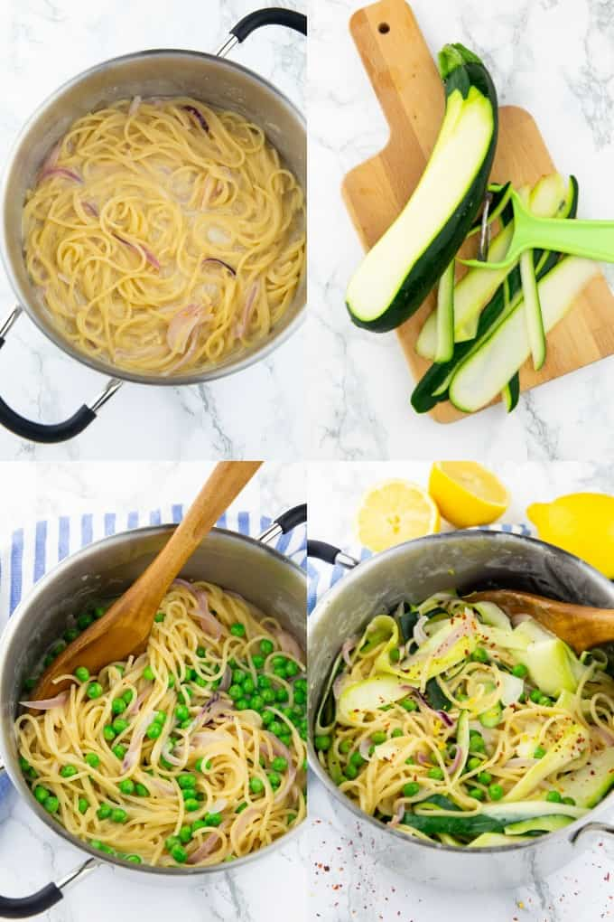 a collage of four photos that show how to make one pot pasta with lemon, zucchini, and peas