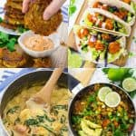 a collage of four vegan recipes that are the best vegan recipes on the blog of 2018