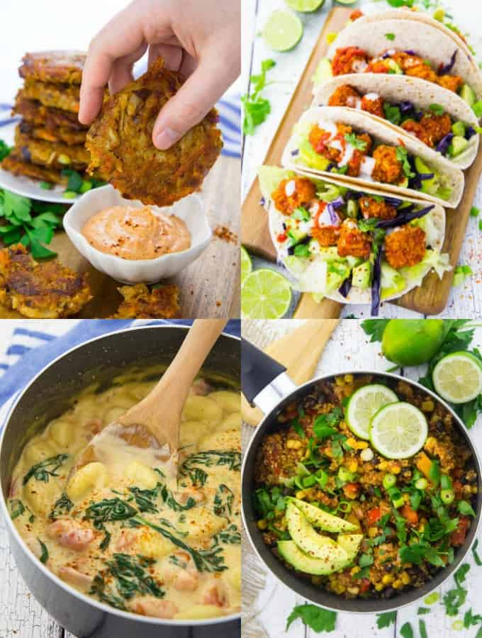a collage of four vegan recipes that are the best vegan recipes of 2018