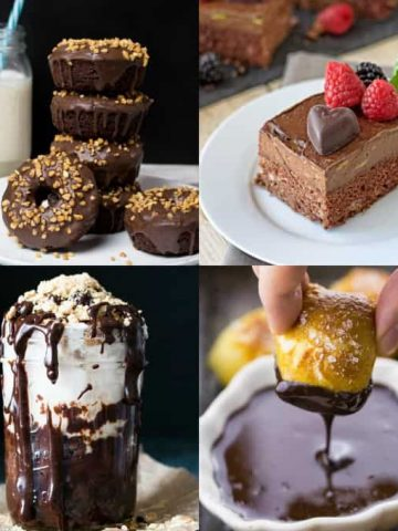 a collage of four vegan chocolate recipes