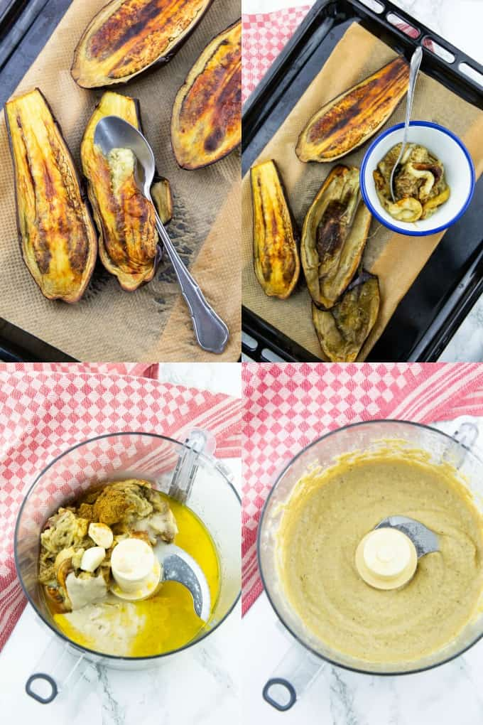 a collage of four step by step photos that show how to make Baba Ganoush