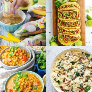 a collage of four veg recipes
