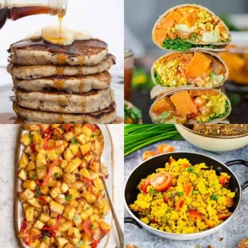 A collage of four vegan breakfast recipes