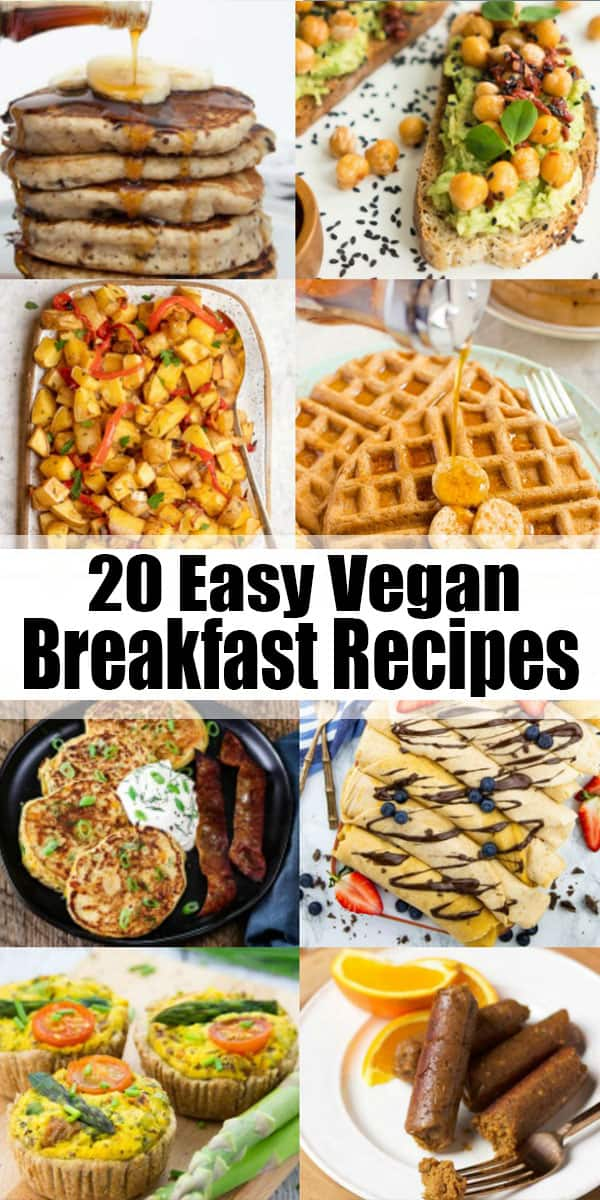 Start your day off right with one or a few of these 20 vegan breakfast recipes! They're all extremely delicious, easy to make, and just perfect for a relaxed breakfast on the weekend! #vegan #breakfast #veganrecipes