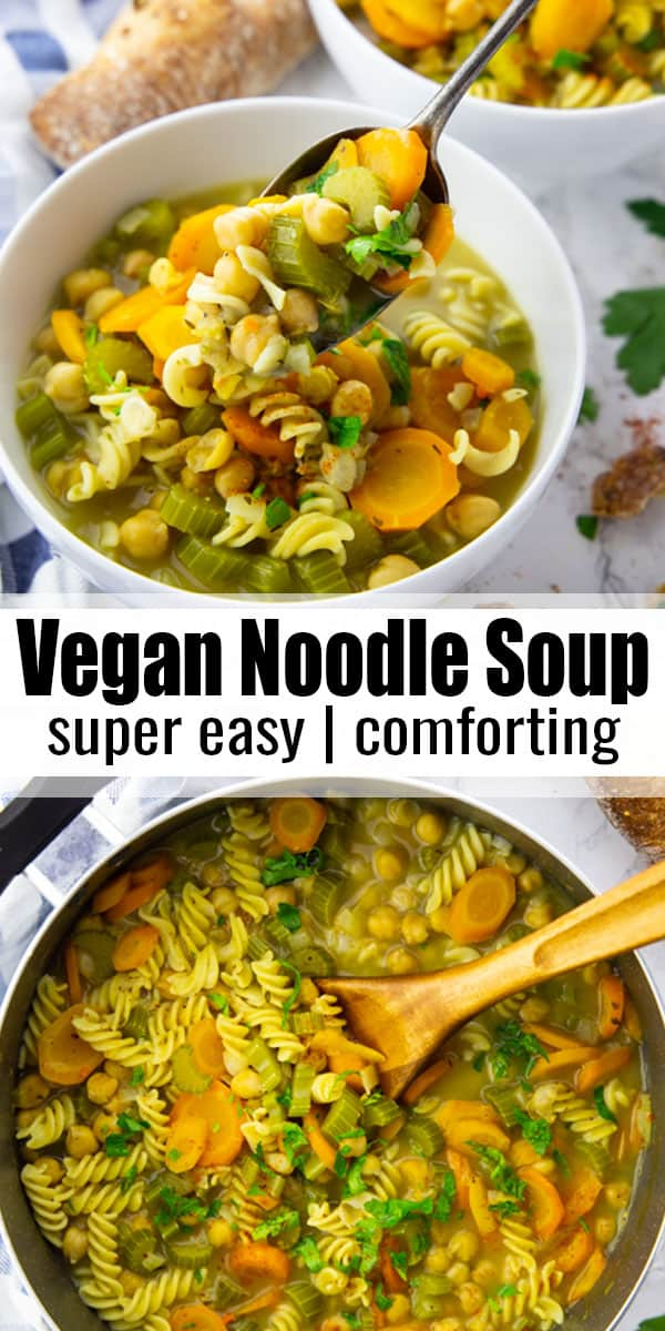 This vegan chicken noodle soup is the perfect comfort food for cold days! It's warming, healthy, and very easy to make. And it's packed with protein! One of my favorite vegan soups! #vegan #soup #veganrecipes