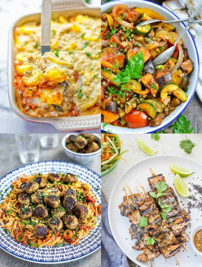 a collage of four vegan eggplant recipes