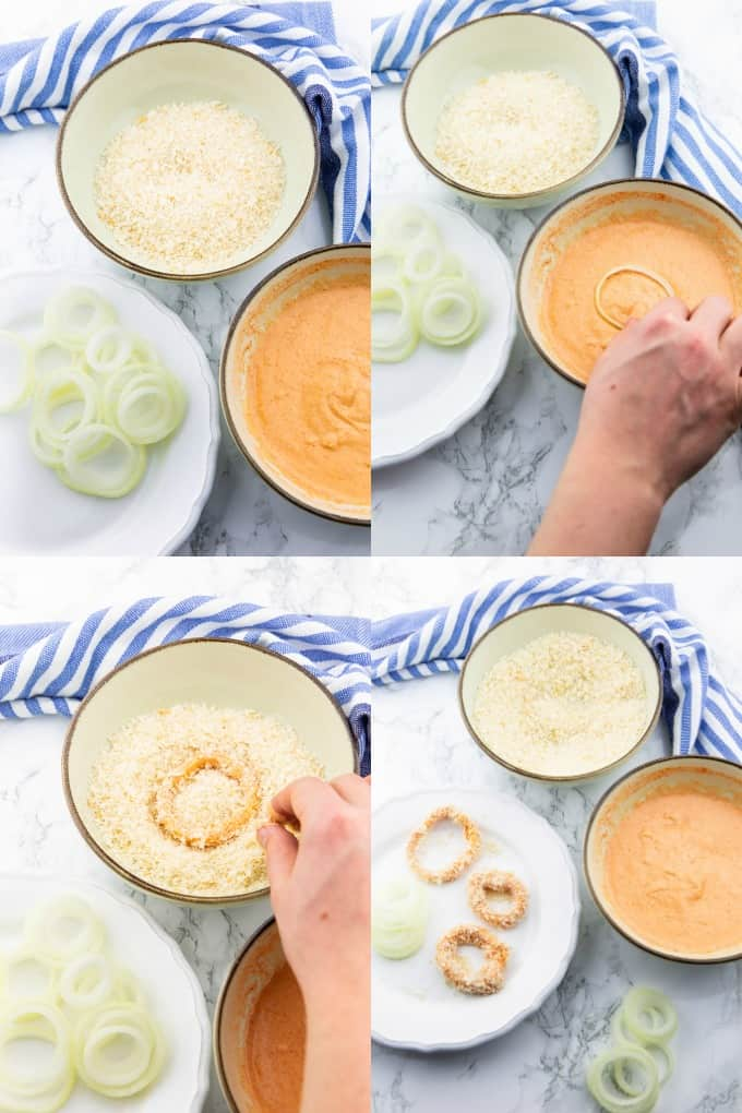 a collage of four step by step photos that show the preparation of vegan onion rings