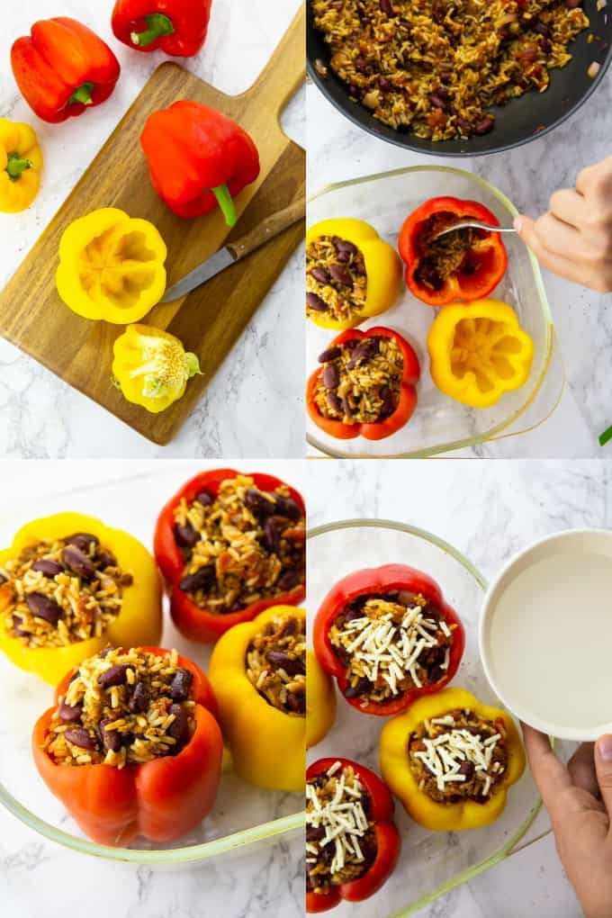 a collage of four step by step photos that show the preparation of vegan stuffed peppers