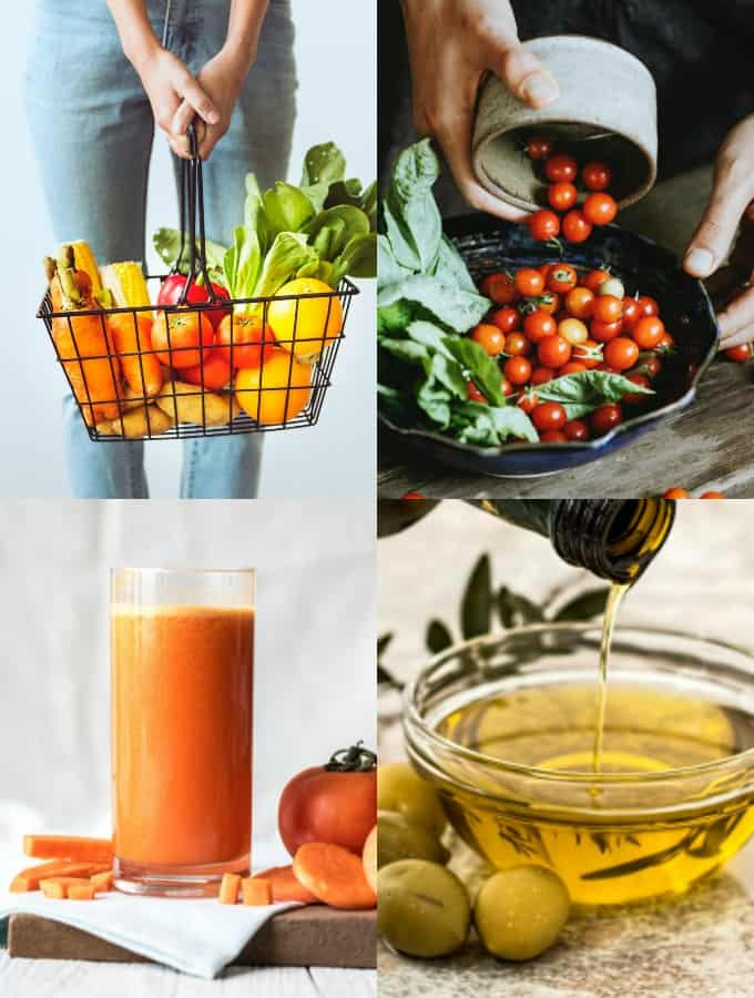 a collage of four photos showing vegetables, a glass of freshly made juice, and a bowl of olive oil
