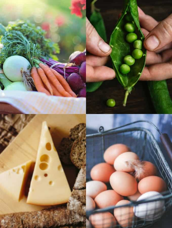 a collage of vegetables, cheese and eggs that mirror the topic of vegan vs vegetarian