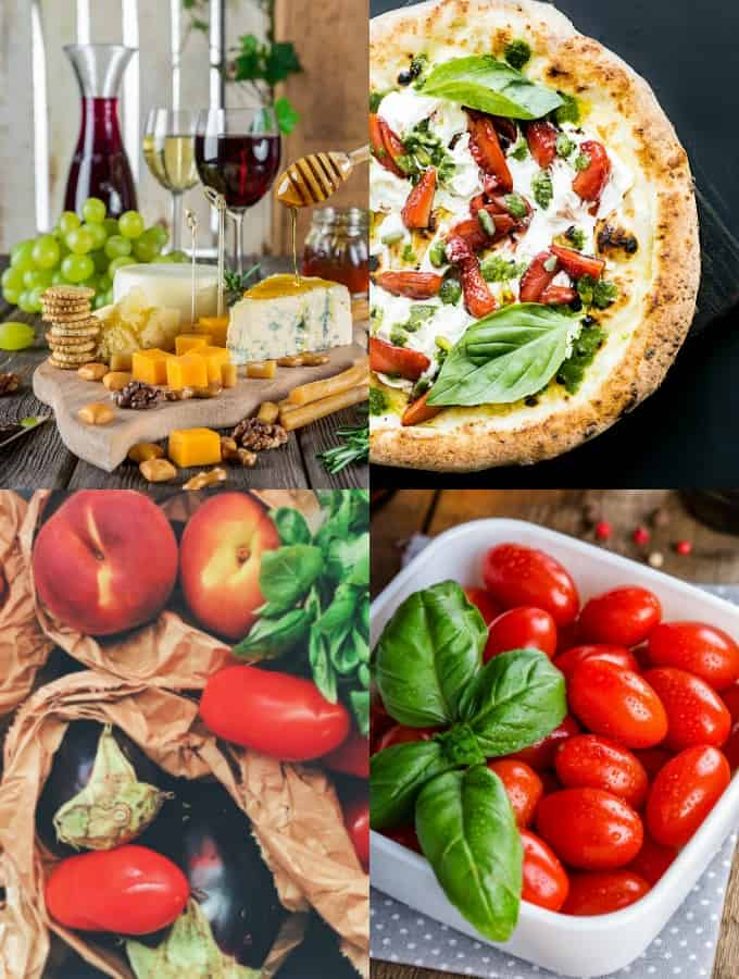 a collage of four photos showing cheese, vegetables, and a cheese pizza