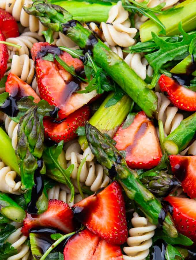a close-up photos of Asparagus Pasta Salad