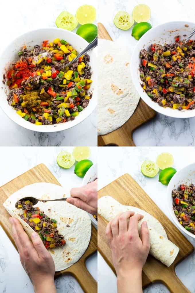 four step by step photos that show the preparation of vegan enchiladas