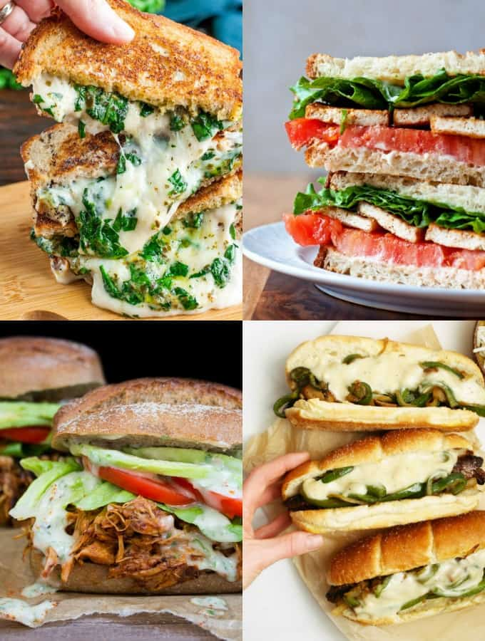 a collage of four vegan sandwiches
