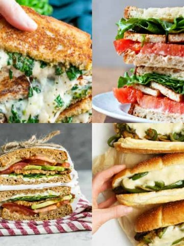 a collage of four photos of vegan sandwiches