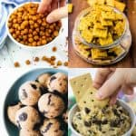 a collage of four vegan snacks