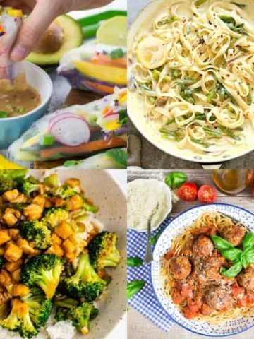 a collage of four vegan meals