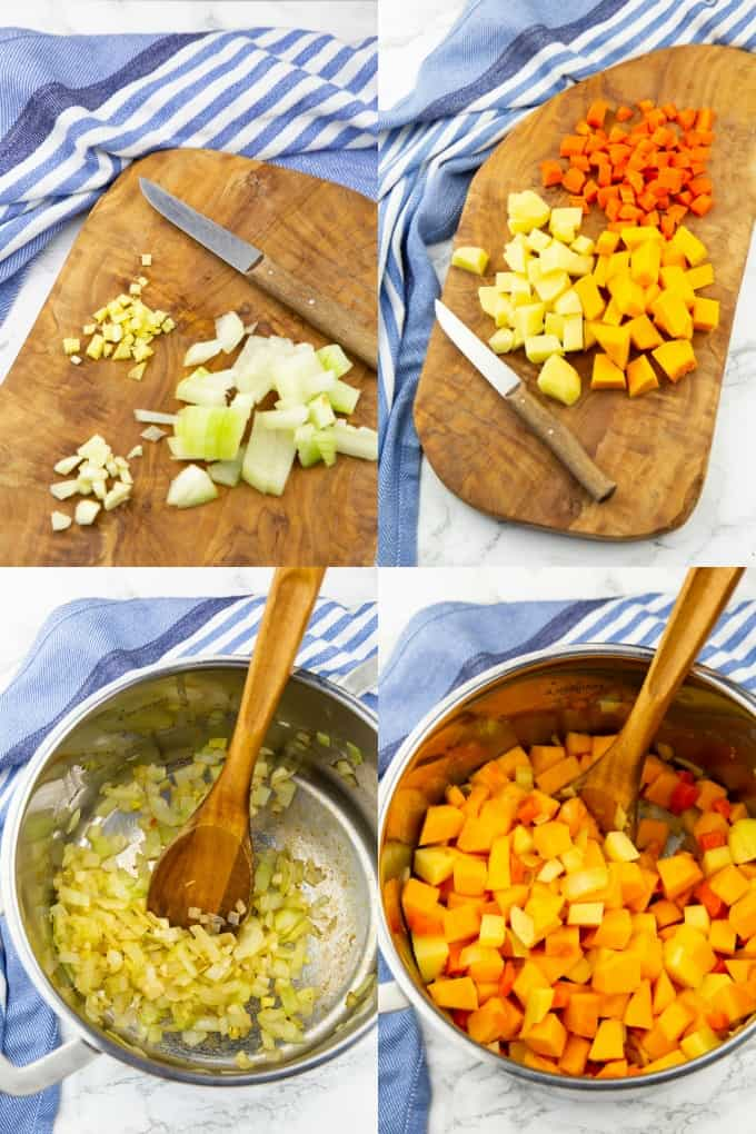 a collage of four photos that show the preparation of vegan pumpkin soup
