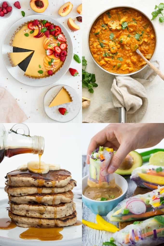 a collage with four photos of vegan recipes (peach cake, cauliflower curry, banana pancakes, and summer rolls)