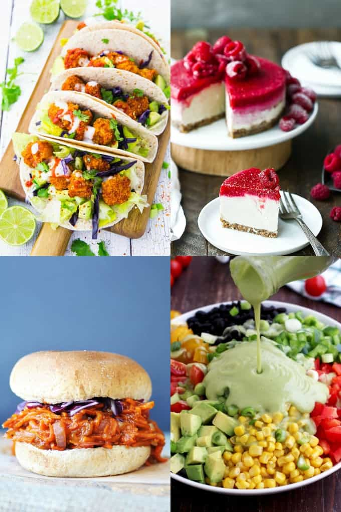 a collage of four photos of vegan recipes (cauliflower tacos, cheesecake, pulled BBQ carrots, and Mexican salad)