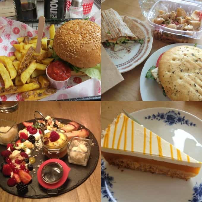 a collage of vegan food at vegan restaurants in Berlin