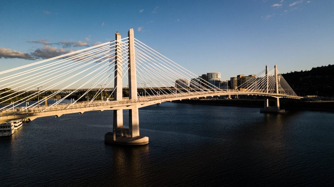 Skyline of Portland with Tilikum Crossing