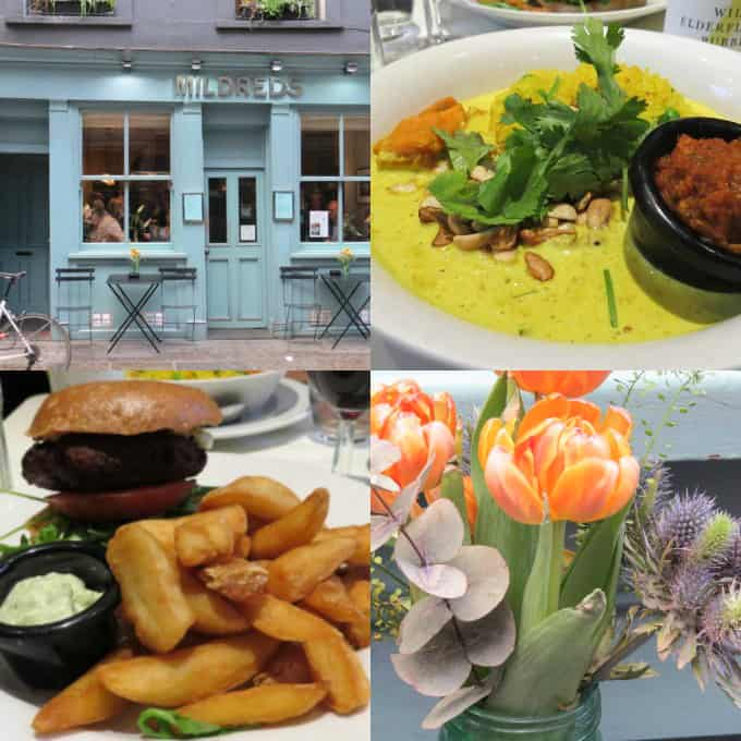 a collage of the vegan food at Mildreds in London