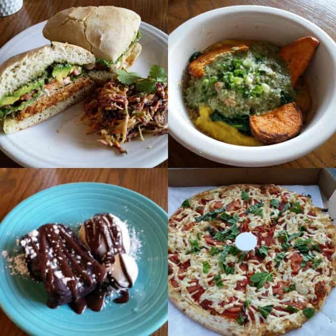 a collage of vegan food at vegan restaurants in Los Angeles