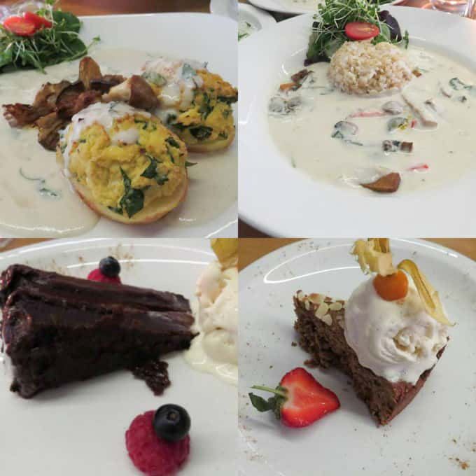vegan restaurants in London - a collage of the food we had at 222 Veggie Vegan