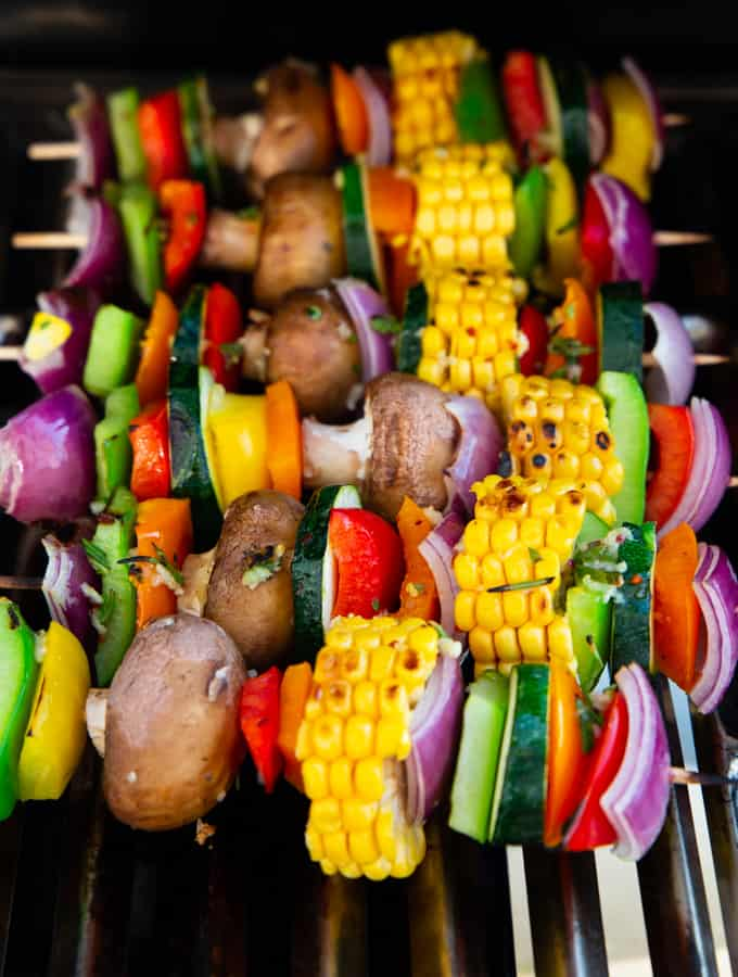 Six Vegetable Kabobs on a grill