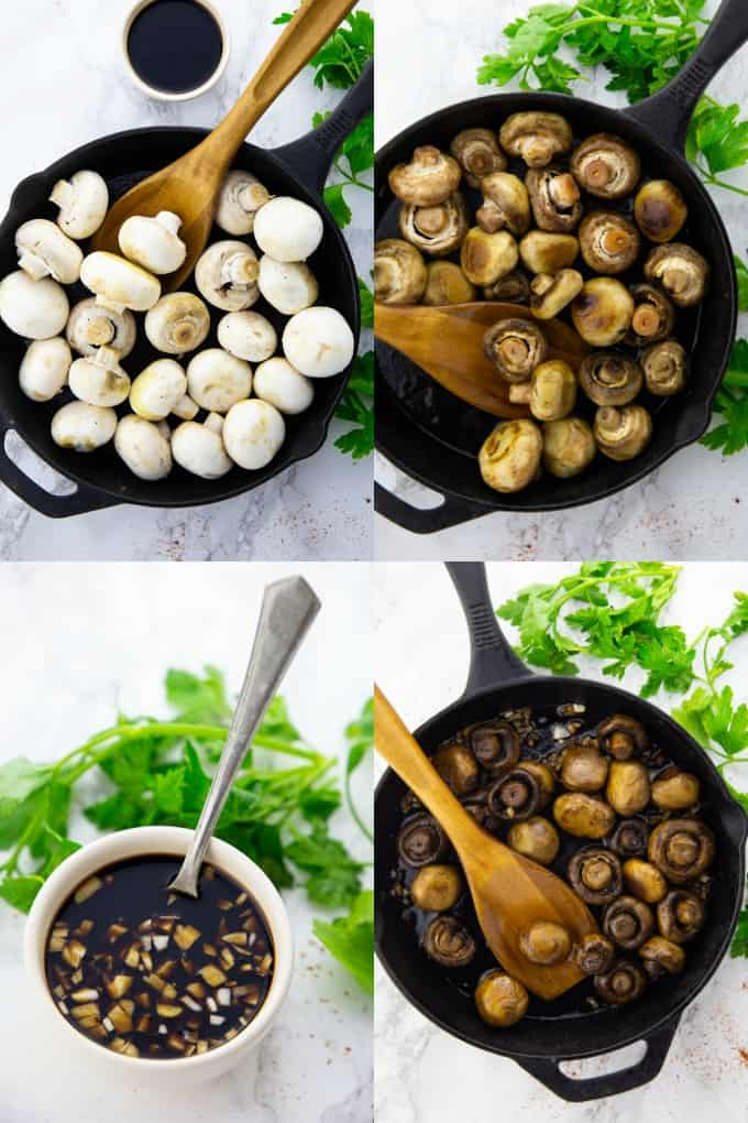 a collage of four step-by-step photos that show the preparation of balsamic mushrooms
