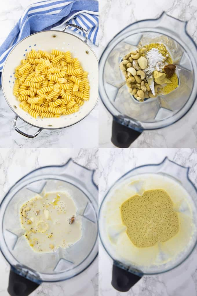 a collage of four photos that shows how to make broccoli pesto