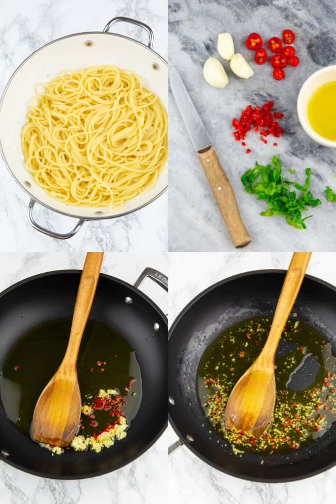 a collage of four photos that show the preparation of spaghetti agile e olio