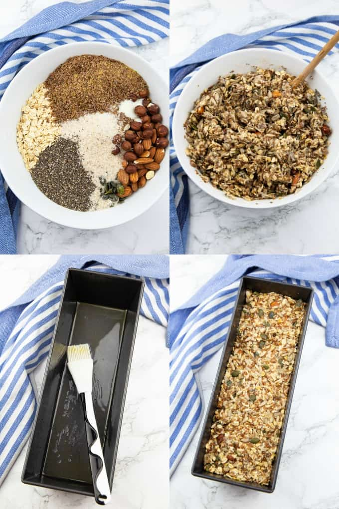 a collage of four step-by-step photos that show the preparation of vegan bread