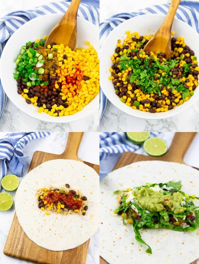 a collage of four photos that show how to make vegan burritos