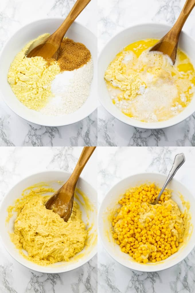 a collage of four photos that show the preparation of vegan cornbread
