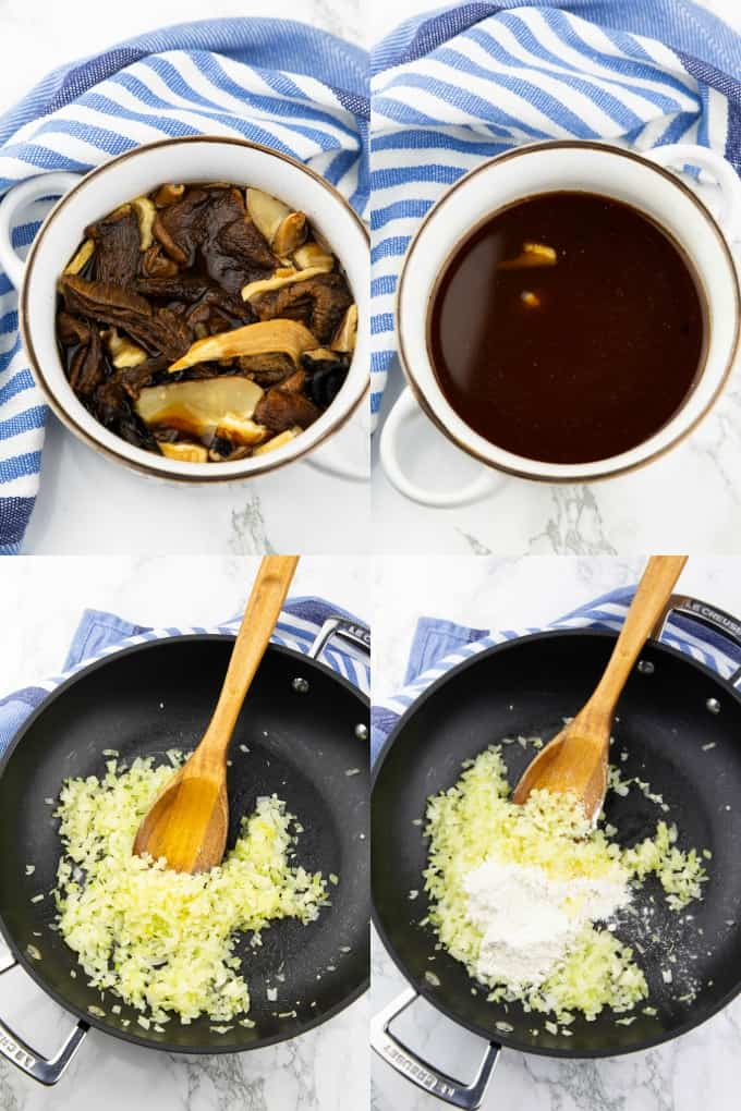 a collage of four photos that show the preparation of vegan gravy